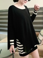Elegant female 2013 stripe spaghetti strap one-piece dress twinset sweater