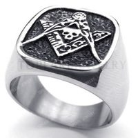 Topearl Jewelry 3pcs Stainless Steel Masonic Freemasonry Skull Ring MER05-06