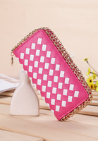 Woman Weven Plaid Zipper Chain Wallet Premium Leather Six Colors For Option Fashion And Casual New Arrival Korea Style Classic