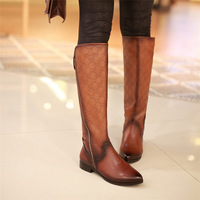 new 2014 winter   embossing Woman genuine leather shoes, fashion  knee-high boots, free shipping