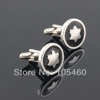 Black Enamel Silver Gift Cufflinks Round Star Wedding Groom Men Cuffs Party Business Shirt Suit Cuff Links