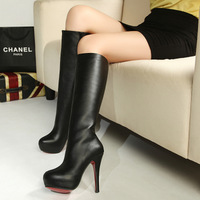Fashion sexy winter boots platform stiletto boots high-leg 2013 pedicure black boots