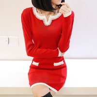 2013 long design basic shirt female sweater dress slim hip handmade beading sweater outerwear