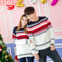 52017 female sweater 2013 autumn and winter fashion personality lovers pattern o-neck loose sweater female