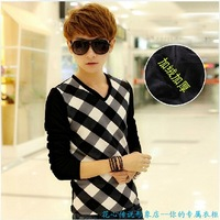 Winter 2013 plus velvet thickening sweater men's clothing teenage thermal plaid sweater