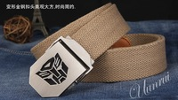 a gift to men! fashion cool Transformers buckle canvas belt, thick canvas Men Belt  BL022