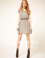 Newest Slim Womens dress with belt Deer Picture  short sleeved  ladies Chiffon dress