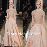 Hot Selling Beaded Embroidery Long Vintage 2014 Elie Saab Evening Dresses With Sleeves
