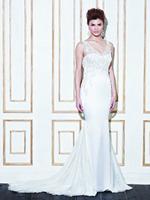 [High-Quality ]Free Shipping Sexy Charming Mermaid Straps V-neck Beading Brush Train Luxury Wedding Dresses 2014 Plus Size#3000