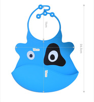 New 2Pcs Washable Silicone Infant Feeding Baby Kid Bib Fun characteristic Cartoon Waterproof Food Proof Color Option