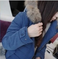 Women's plus size HARAJUKU slim fur collar wadded jacket cotton-padded jacket thickening outerwear female short design small