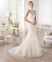 2014 New Arrival Style BD-425 High Neck Mermaid Lace Appliqued Tulle Wedding Dresses
