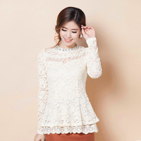 Lace top diamond lace basic turtleneck shirt female skirt long-sleeve shirt