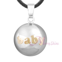 "6pcs ""BABY LOVE"" Musical chime sound Angel caller ball Antenatal Training Mexican bola Necklace Merryshine Bola Wholesale NB164"