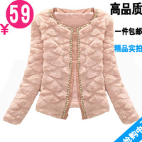 Autumn slim design o-neck short fur coat beads faux short jacket women