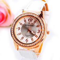 2013 new women rhinestone watch  leather strap casual relogio  femenino clock business brand watch szpt000112