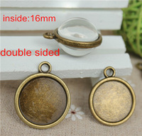 Free Shipping -100 pcs 16mm Antique Bronze Plated DOUBLE SIDED Cabochon Pendant Base Round Bezel Setting Cameo Mounting