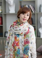 The new Yiwu factory direct pastoral floral silk yarn scarves wholesale Bali long free shipping
