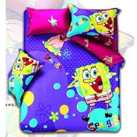 Reactive dyeing 4pcs Spongebob Printed Bedding Set Bedding bag the sheets Free Shipping