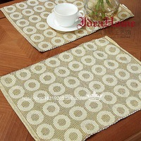 Free Shipping 5pcs Placemat Retro Rustic Rectangle Heat Tea Pad Western Food Hand Made Crochet Pad Dining Table Mat Cup Coaster