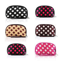 New Fashion women's polka dot cosmetic bag girl lady day clutch coin purse multi function bags multicolor