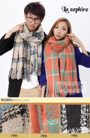 Wholesale new winter savior circle coral velvet tassel lattice warm wool scarf Unisex free shipping