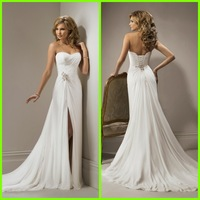 Ivory Chiffon Sweetheart Mermaid Wedding Dresses 2014 New Arrival Vestido De Noiva With Slit