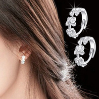 Free shipping Sterling silver Flower earrings Fashion stud earrings Pearl