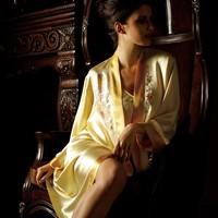 Amere smallf small lounge women's spring and autumn silk mulberry silk embroidered spaghetti strap robe silk sleepwear 8201