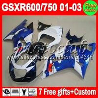 7gifts+Cowl NEW blue For SUZUKI K1 01 02 03 GSXR750 GSXR600  MC2A33 GSXR 600 750 GSX R600 HOT Blue white 2001 2002 2003 Fairing