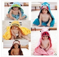 Free shipping 2013 new cartoon baby bath towel baby hooded bathrobe lovely zoo