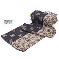 Men's precision fineness wool blended cashmere flower scarf man stripe scarves in winter autumn 180x32
