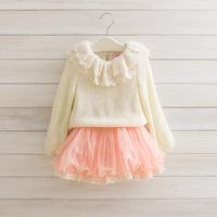 winter autumn baby girl's korean fashion warm sweater chiffon lace pearl collar long sleeve tutu dress kids children clothing