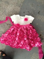 Retail 1pcs fashion Girls Princess Dress Rose Petal Baby Girls dress for 12M to 24M, Baby clothing, Nice design