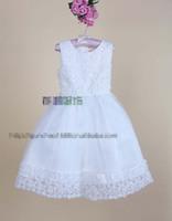Latest princess party dress girls Stereo flowers Beaded tulle tutu vest dress baby kid white Bridesmaid dress Clubwear EMS 2249