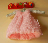 Retail 1pcs fashion Pink High Grade Girl princess dress, Baby Girls Dress, for 9M, 12M, 18M, 24M, Nice design