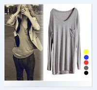 Free Shipping 2013New women's V-neck Loose short-sleeved T-shirt Modal Shirt Summer Black Gray White xl