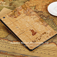 2013 New Arrival Fashion Retro World Map Stand Smart Cover Shell Case For Apple iPad Air leather case for ipad 5, Free Shipping