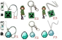 Free shiping Fashion Brinquedos Cartoon Minecraft Creeper Keychains Necklace Set 10Pcs/lot Christmas Gift for Children Kids 525