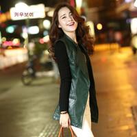 autumn outerwear slim cardigan women's leather jacket outerwear medium-long PU clothing female  Free shipping