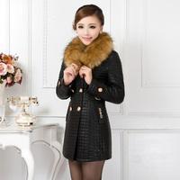 plus cotton leather clothing female fur collar medium-long PU clothing female plus size leather clothing female wadded