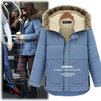 Winter 2013 plus size Women's jacket coat big yards long section thickened cotton hooded fur collar padded down free shipping