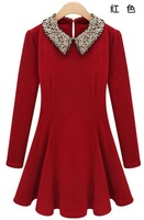 Fashion women's 2013 spring ladies elegant paillette peter pan collar slim waist long-sleeve slim one-piece dress 1680