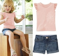 Free shipping!!5set/lot Fashion girls cowboy suit,pink princess sleeve T-shirt + jeans leisure suit 2 groups 80/90/100/110/120