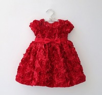 Good ! red color baby dresses formal dress for party or wedding full of flowers babywear  free shipping