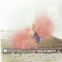 New cute charming Pink mink hair bow hair clips Flower Crystal hairpin Baby/Woman/girl hair accessories  Free Shipping FJ0704
