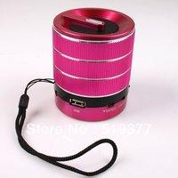 Wholesale 2014 1pc 3W Hot Pink Portable Stereo Mini Stylish USB Port Speaker Fit MP3 Phone FM Radio SD Card Reader 750469