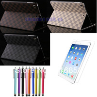Free Shipping 9.7 Inch Luxury Grid PU Leather Folio Case Stand Smart Cover for iPad Air ipad 5 + Film + Stylus