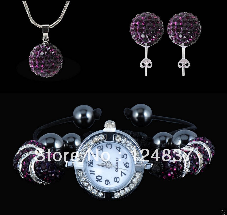 Wedding accessories Woman's Jewelry Sets 10mm Crystal Beads Watch+pendant+Necklace+Stud Earrings Shamballa Watch Set Jewellery(China (Mainland))