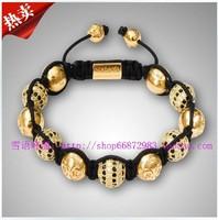 NYE3011 Newest style fashion gold Alloy beads and black crystal shamballa bracelet